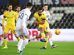 Stefan Payne of Bristol Rovers gets an early shot off. - Mandatory by-line: Alex James/JMP - 05/12/2018 - FOOTBALL - Liberty Stadium - Swansea, England - Swansea City U21 v Bristol Rovers - Checkatrade Trophy