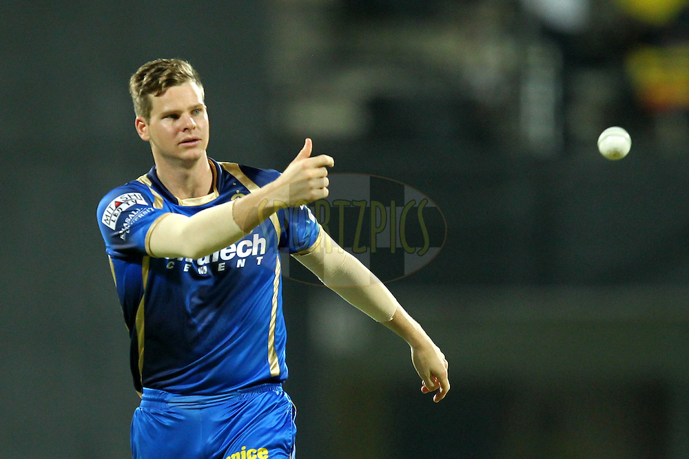 Steve Smith of Rajasthan Royals during match 47 of the Pepsi IPL 2015 (Indian Premier League) between The Chennai Superkings and The Rajasthan Royals held at the M. A. Chidambaram Stadium, Chennai Stadium in Chennai, India on the 10th May 2015.Photo by:  Prashant Bhoot / SPORTZPICS / IPL