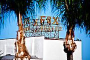 Fox Theatre marquee seen through palm trees. Downtown Fullerton, California.