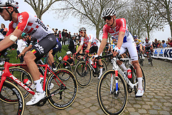 The peloton including Mathieu Van Der Poel (NED) Corendon-Circus on the Padderstraat during the 2019 Ronde Van Vlaanderen 270km from Antwerp to Oudenaarde, Belgium. 7th April 2019.<br /> Picture: Eoin Clarke | Cyclefile<br /> <br /> All photos usage must carry mandatory copyright credit (© Cyclefile | Eoin Clarke)