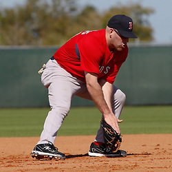 February 19, 2011; Fort Myers, FL, USA; Boston Red Sox third baseman Kevin Youkilis during spring training at the Player Development Complex.  Mandatory Credit: Derick E. Hingle