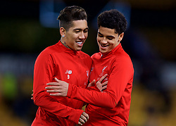 WOLVERHAMPTON, ENGLAND - Monday, January 7, 2019: Liverpool's substitutes Roberto Firmino (L) and Ki-Jana Hoever during the pre-match warm-up before the FA Cup 3rd Round match between Wolverhampton Wanderers FC and Liverpool FC at Molineux Stadium. (Pic by David Rawcliffe/Propaganda)