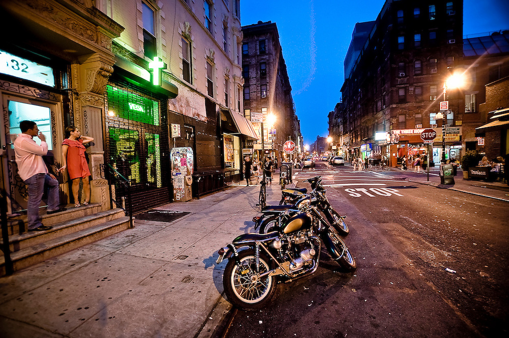 Ludlow Street by night in the Lower East Side, Manhattan, 2010.