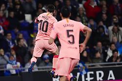 December 8, 2018 - Barcelona, Catalonia, Spain - December 8, 2018 - Cornella- El Prat, Barcelona, Spain - LaLiga Santander- RCD Espanyol v FC Barcelona; Lionel Messi of FC Barcelona celebrates scoring his side's 2nd goal. (Credit Image: © Marc Dominguez/ZUMA Wire)