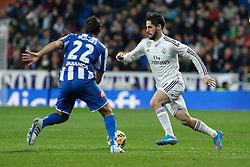 14.02.2015, Estadio Santiago Bernabeu, Madrid, ESP, Primera Division, Real Madrid vs Deportivo La Coruna, 23. Runde, im Bild Real Madrid&acute;s Isco (R) and Deportivo de la Courna&acute;s Borges // during the Spanish Primera Division 23rd round match between Real Madrid vs Deportivo La Coruna at the Estadio Santiago Bernabeu in Madrid, Spain on 2015/02/14. EXPA Pictures &copy; 2015, PhotoCredit: EXPA/ Alterphotos/ Victor Blanco<br /> <br /> *****ATTENTION - OUT of ESP, SUI*****