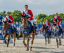 Winning Belgium team, Olivier Philippaerts,Pieter Devos,Niels Bruynseels  Jerome Guery.<br /> Photo FEI/