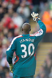 LIVERPOOL, ENGLAND - Saturday, January 26, 2008: Liverpool's error-prone goalkeeper Charles Itandje during the FA Cup 4th Round match against Havant and Waterlooville at Anfield. (Photo by David Rawcliffe/Propaganda)