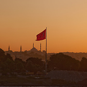 View of the Asian side of Istanbul as seen from the Bosphorus Strait at sunset.