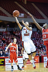 04 December 2009: Alexis Jenkins slips past Shaakira Haywood for a lay up. The Huskies of Northern Illinois University fall to the Redbirds of Illinois State University by a score of 85-57 on Doug Collins Court in Redbird Arena in Normal Illinois.