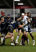Saracens wing Liam Williams tussles with Sale Sharks prop WillGriff John during the Aviva Premiership match Sale Sharks -V- Saracens at The AJ Bell Stadium, Salford, Greater Manchester, England on Friday, February 16, 2018. (Steve Flynn/Image of Sport)