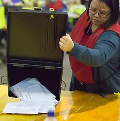 Scottish Parliament Election 2016 Royal Highland Centre Ingliston Edinburgh 05 May 2016; the postal ballot boxes are opened during the Scottish Parliament Election 2016, Royal Highland Centre, Ingliston Edinburgh.<br /> <br /> (c) Chris McCluskie   Edinburgh Elite media