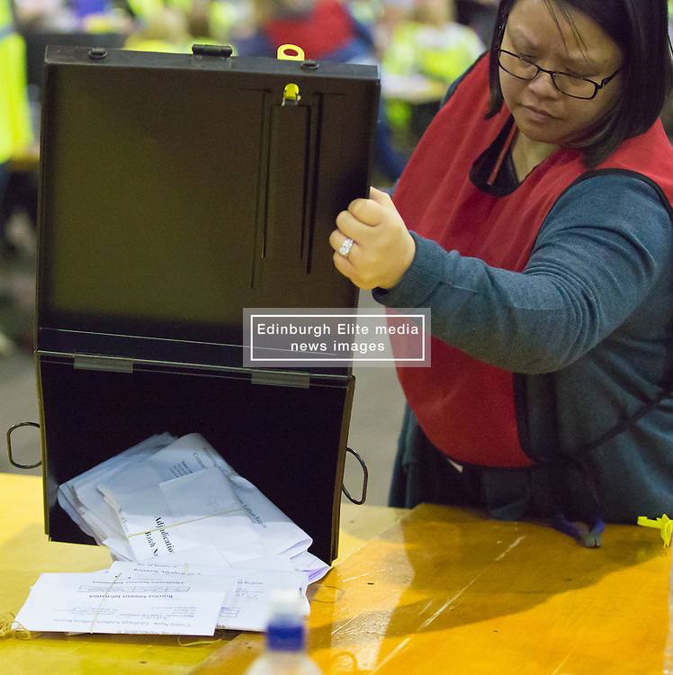 Scottish Parliament Election 2016 Royal Highland Centre Ingliston Edinburgh 05 May 2016; the postal ballot boxes are opened during the Scottish Parliament Election 2016, Royal Highland Centre, Ingliston Edinburgh.<br /> <br /> (c) Chris McCluskie | Edinburgh Elite media