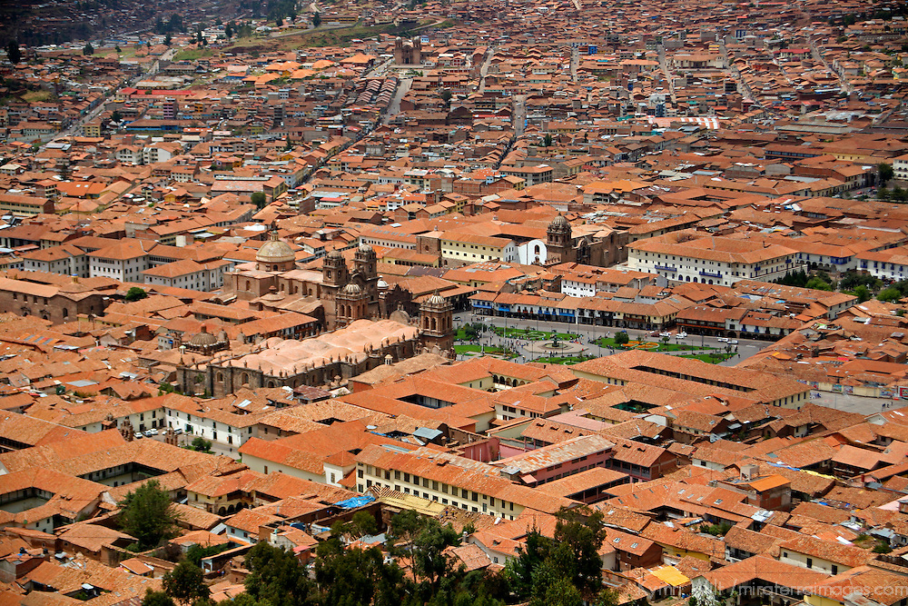 South America, Peru, Cusco. View from Cristo Blanco of the red-tiled rooftops of Cusco, A UNESCO World Heritage City.