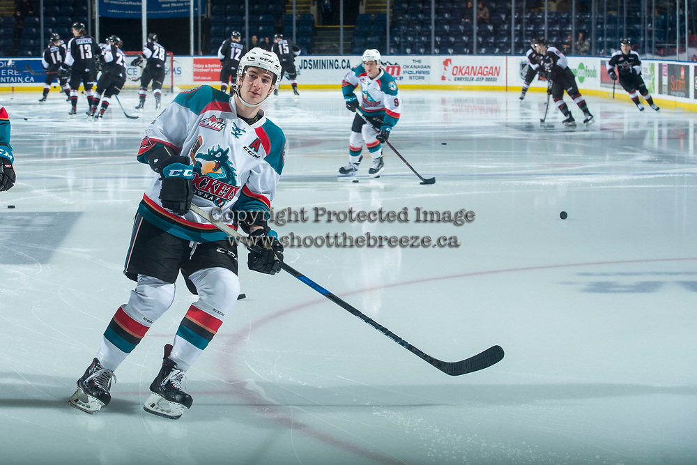 KELOWNA, CANADA - MARCH 7: James Hilsendager #2 of the Kelowna Rockets warms up against the Vancouver Giants  on March 7, 2018 at Prospera Place in Kelowna, British Columbia, Canada.  (Photo by Marissa Baecker/Shoot the Breeze)  *** Local Caption ***