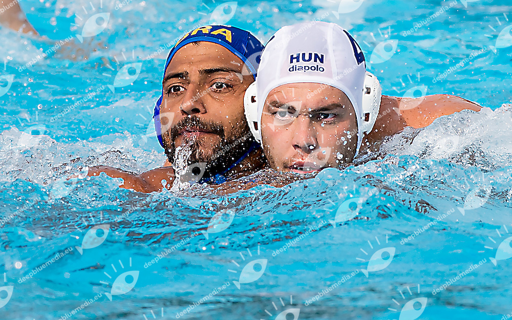 4 ERDELYI Balazs HUN 9 ROCHA Bernardo BRA<br /> Hungary HUN (white) - Brazil BRA  (blue)<br /> day 03 - 25/06/2015<br /> FINA Water Polo World League Superfinal Men<br /> Bergamo (ITA) 23-28 June 2015<br /> Photo G.Scala/Deepbluemedia