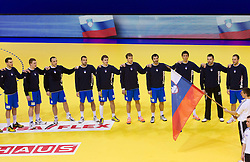 Slovenia National team listening to the national athemn during handball match between Iceland and Slovenia in  3rd Round of Preliminary Round of 10th EHF European Handball Championship Serbia 2012, on January 20, 2012 in Millennium Center, Vrsac, Serbia.  (Photo By Vid Ponikvar / Sportida.com)