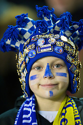 LIVERPOOL, ENGLAND - Thursday, December 17, 2009: A young Everton supporter before his side's UEFA Europa League Group I match against FC BATE Borisov at Goodison Park. (Pic by David Rawcliffe/Propaganda)