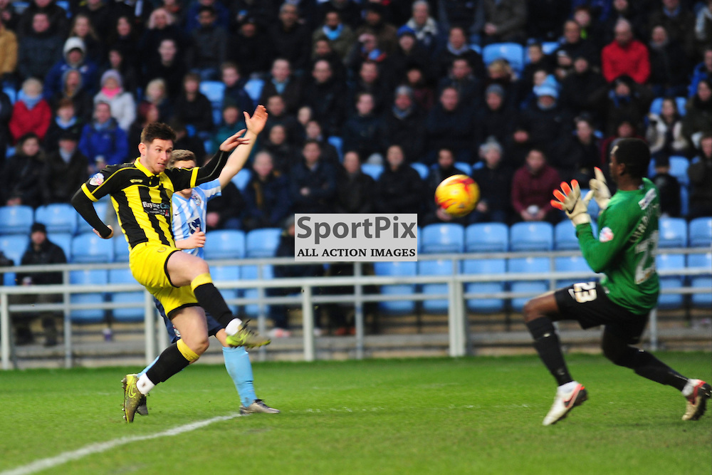 BURTONS CALUM BUTCHER CHIPS THE BALL OVER COVENTRYS KEEPER REICE CHARLES-COOK  TO SCORE BURTON ALBIONS FIRST GOAL, Coventry City v Burton Albion, Ricoh Arena,  Sky Bet League 1, Saturday 16th JJanuary 2016,