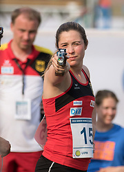 04.07.2015, Berlin, GER, Moderner Fünfkampf WM, im Bild Janine Kohlmann, OSC Potsdam, beim einschiessen // during Womens race of the the world championship of Modern Pentathlon at the Berlin, Germany on 2015/07/04. EXPA Pictures © 2015, PhotoCredit: EXPA/ Eibner-Pressefoto/ Kleindll<br /> <br /> *****ATTENTION - OUT of GER*****