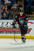 KELOWNA, CANADA - DECEMBER 5:  Leif Mattson #28 of the Kelowna Rockets skates to the bench after scoring the game winning shoot out goal against the Tri-City Americans on December 5, 2018 at Prospera Place in Kelowna, British Columbia, Canada.  (Photo by Marissa Baecker/Shoot the Breeze)
