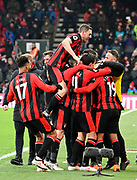 Goal - Junior Stanislas (19) of AFC Bournemouth is mobbed as he celebrates scoring a goal to make the score 2-1 during the Premier League match between Bournemouth and West Bromwich Albion at the Vitality Stadium, Bournemouth, England on 17 March 2018. Picture by Graham Hunt.