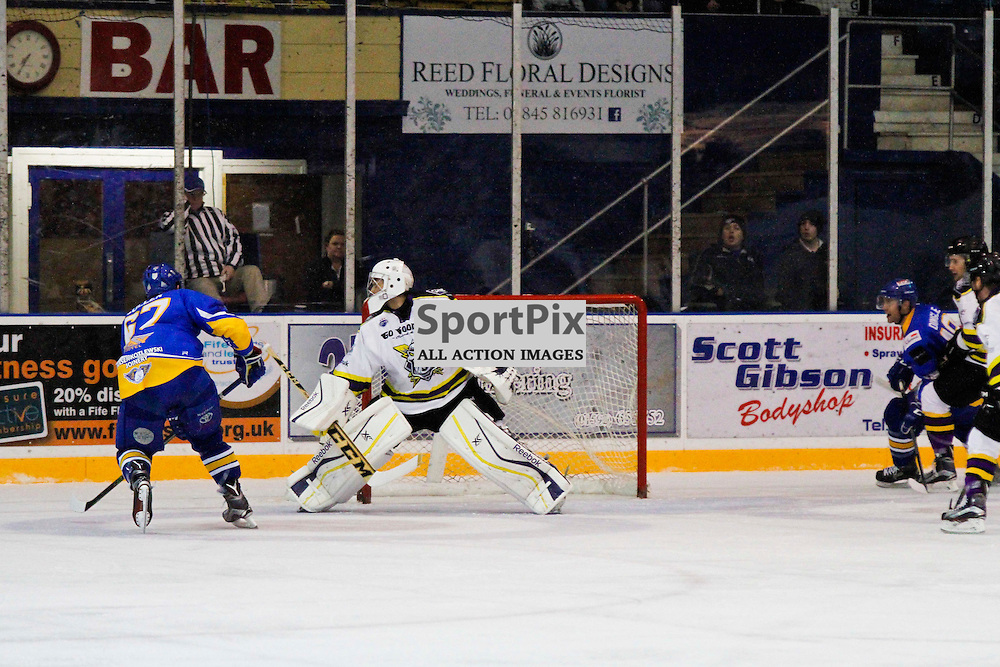 Fife Flyers V Manchester Storm, Elite Ice Hockey League, 14 November2015Fife Flyers V Manchester Storm, Elite Ice Hockey League, 14 November2015<br /> <br /> FIFE FLYERS #67 PADDY CULLEN SCORES THE ONLY FIFE GOAL AGAINST MANCHESTER STORM #40 ZANE KALEMBA