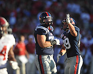 Ole Miss' Bradley Sowell (78) celebrates the Rebels' touchdown with Ole Miss' Layton Jones (89) vs. Alabama at Vaught-Hemingway Stadium in Oxford, Miss. on Saturday, October 14, 2011. Alabama won 52-7.