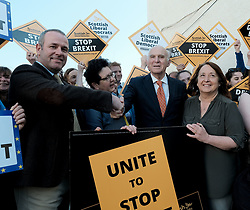 In front of the iconic Forth Rail Bridge, Liberal Democrat leader Vince Cable, former Change UK lead candidate David MacDonald, Lib Dem European election candidates and party activists unveiled a new election poster calling on Remain voters to unite to stop Brexit.<br /> <br /> Pictured: EU candidate Sheila Ritchie, Sir Vince Cable MP, David MacDonald, Christine Jardine MP and Alex Cole-Hamilton MSP<br /> <br /> Alex Todd   Edinburgh Elite media