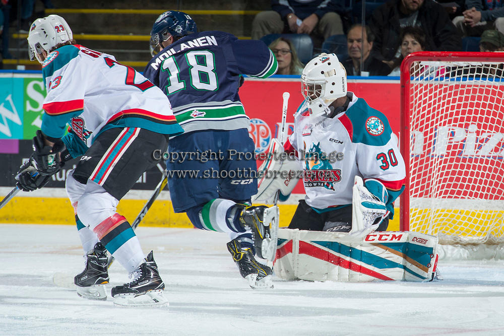 KELOWNA, CANADA - APRIL 30:Michael Herringer #30 of the Kelowna Rockets defends the net against the Seattle Thunderbirds  on April 30, 2017 at Prospera Place in Kelowna, British Columbia, Canada.  (Photo by Marissa Baecker/Shoot the Breeze)  *** Local Caption ***