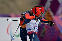 REMIZOVA Elena Guide: YAKIMOVA Natalia competing in the Nordic Skiing XC Long Distance at the 2014 Sochi Winter Paralympic Games, Russia