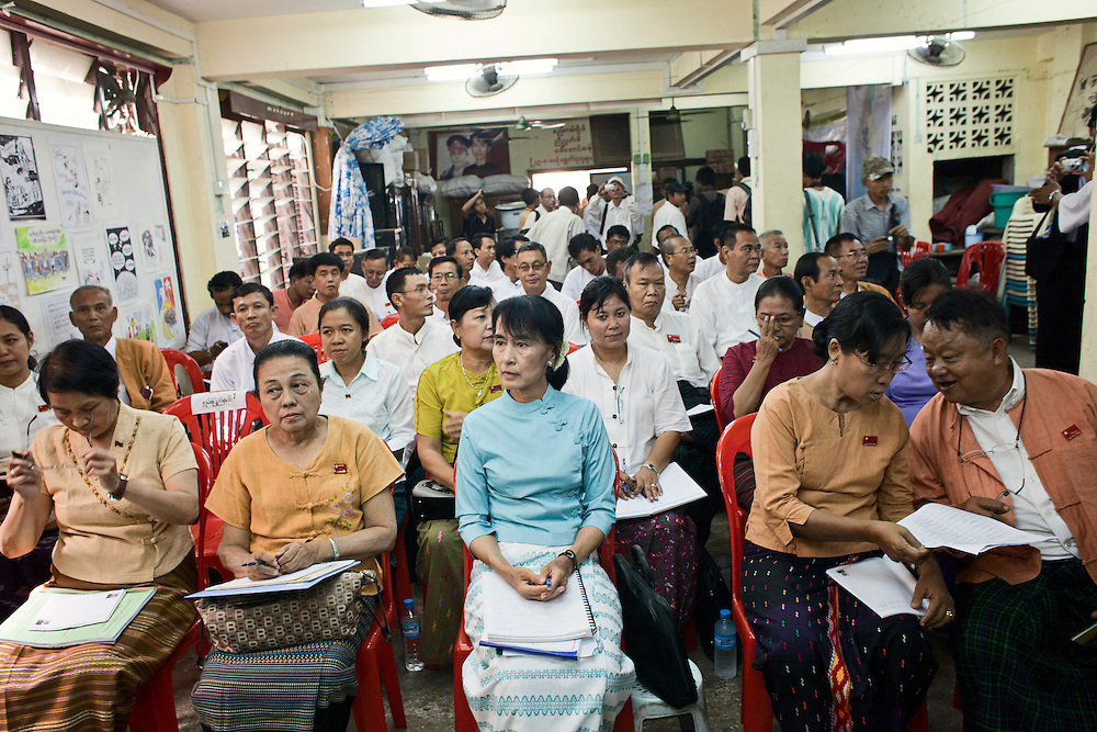 A National League for Democracy (NLD) meeting. After their recent landslide victory of over 90 percent, the MPS have come together for a strategy meeting. Yangon, Myanmar. 2012