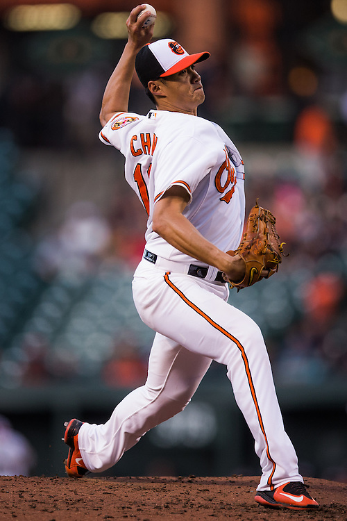 BALTIMORE, MD - MAY 20:  Wei-Yin Chen #16 of the Baltimore Orioles pitches during the game against the Seattle Mariners  at Oriole Park at Camden Yards on May 20, 2015 in Baltimore, Maryland. (Photo by Rob Tringali) *** Local Caption *** Wei-Yin Chen