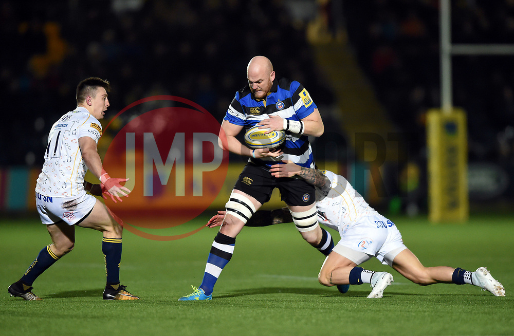 Matt Garvey of Bath Rugby takes on the Worcester Warriors defence - Mandatory byline: Patrick Khachfe/JMP - 07966 386802 - 05/01/2018 - RUGBY UNION - Sixways Stadium - Worcester, England - Worcester Warriors v Bath Rugby - Aviva Premiership