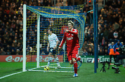 PRESTON, ENGLAND - Saturday, January 3, 2009: Liverpool's Fernando Torres celebrates scoring his late goal against Preston North End during the FA Cup 3rd Round match at Deepdale. (Photo by David Rawcliffe/Propaganda)