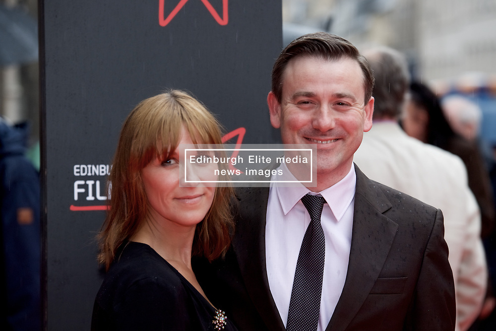 "Graeme Hawley and partner, on the red carpet at the Edinburgh International Film Festival world Premier of ""England is Mine"" at Edinburgh's Festival Theatre. Sunday, 2nd July, 2017(c) Brian Anderson 