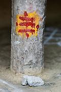 Spiritual marking on pillar of a village home in Villupuram District.