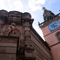 Picture shows : The Tron Theatre Cherub  and Tron Clock. Merchant City Area, Glasgow. Travel guide feature..Picture Drew Farrell. tel : 07721-735041......