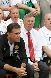 WIGAN, ENGLAND - Sunday, May 11, 2008: Manchester United's manager Alex Ferguson and assistant Carlos Queiroz before the final Premiership match of the season against Wigan Athletic at the JJB Stadium. (Photo by David Rawcliffe/Propaganda)
