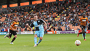 Wycombe Wanderers player Garry Thompson scores his 2nd goal from the penalty spot during the Sky Bet League 2 match between Barnet and Wycombe Wanderers at The Hive Stadium, London, England on 15 August 2015. Photo by Bennett Dean.