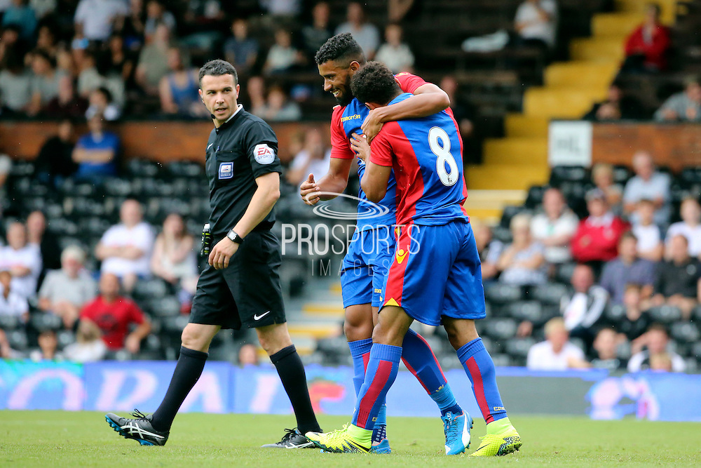 Crystal Palace player, Keshi Anderson celebrating scoring palace goal 2-1 during the Pre-Season Friendly match between Fulham and Crystal Palace at Craven Cottage, London, England on 30 July 2016. Photo by Matthew Redman.