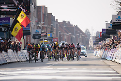 The final sprint at Gent Wevelgem Elite Women 2018 - a 143 km road race from Ieper to Wevelgem on March 25, 2018. Photo by Sean Robinson/Velofocus.com