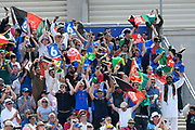 Afghanistan fans celebrate  a six during the ICC Cricket World Cup 2019 match between Afghanistan and Australia at the Bristol County Ground, Bristol, United Kingdom on 1 June 2019.