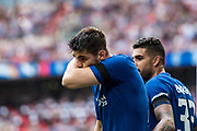 Chelsea (9) Álvaro Morata, celebrates after scoring goal during the The FA Cup match between Chelsea and Southampton at Wembley Stadium, London, England on 22 April 2018. Picture by Sebastian Frej.