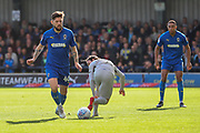 AFC Wimbledon midfielder Anthony Wordsworth (40) battles for possession during the EFL Sky Bet League 1 match between AFC Wimbledon and Portsmouth at the Cherry Red Records Stadium, Kingston, England on 19 October 2019.
