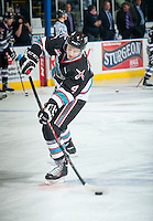 KELOWNA, CANADA - SEPTEMBER 25: Gordie Ballhorn #4 of Kelowna Rockets warms up against the Kamloops Blazers on September 25, 2015 at Prospera Place in Kelowna, British Columbia, Canada.  (Photo by Marissa Baecker/Shoot the Breeze)  *** Local Caption *** Gordie Ballhorn;