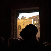 "(03/12/2011 JERUSALEM)  P. Michael Wiliams looks up to the ascending stairs leading to Calvary, the place where Jesus Christ is believed to have been crucified inside the Church of the Holy Sepulchre in the Christian Quarter of Jerusalem's Old City.  ""After this trip I will never be the same."" said Williams.  [WILLIE J. ALLEN JR.]"