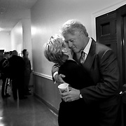 President Clinton gives First Lady Hillary Rodham Clinton a hug backstage before presenting awards for the National Endowment for the Arts and the National Endowment for the Humanities at Constitution Hall Wednesday, Sept. 29, 1999, in Washington, DC. ..Photo by Khue Bui
