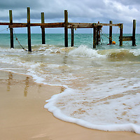 Damaged Pier at Taino Beach in Freeport, Bahamas<br />