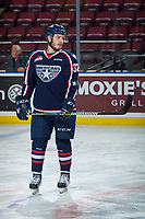 KELOWNA, CANADA - JANUARY 3: Parker AuCoin #32 of the Tri-City Americans stands on the ice  during warm up against the Kelowna Rockets on January 3, 2017 at Prospera Place in Kelowna, British Columbia, Canada.  (Photo by Marissa Baecker/Shoot the Breeze)  *** Local Caption ***