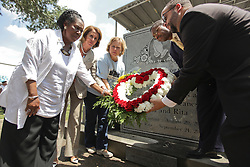 29 August 2015. Lower 9th Ward, New Orleans, Louisiana.<br /> Hurricane Katrina 10th anniversary memorials.  <br /> Former senator Mary Landrieu and Congresswoman Nancy Pelosi lay a wreath with others at the ceremony. <br /> Photo credit©; Charlie Varley/varleypix.com.
